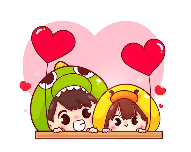 Lovers couple holding heart shaped balloon, happy valentine, cartoon character illustration