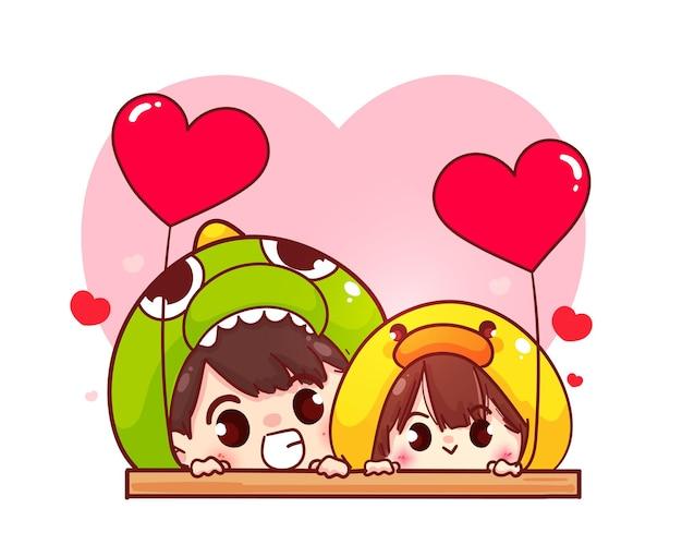 연인 커플 심장 모양의 풍선, 해피 발렌타인, 만화 캐릭터 일러스트를 들고