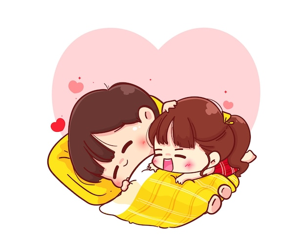 Lovers couple hugging on blanket, happy valentine, cartoon character illustration