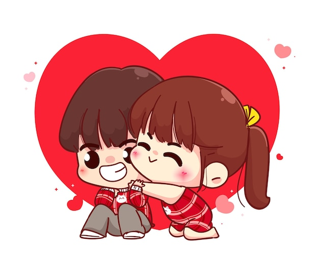 Lovers couple hugging, happy valentine, cartoon character illustration