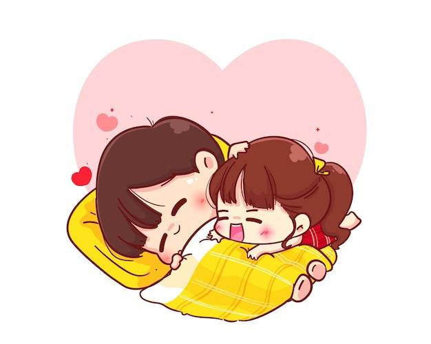 Влюбленная пара обнимается на одеяле, счастливого валентина, мультипликационный персонаж иллюстрации