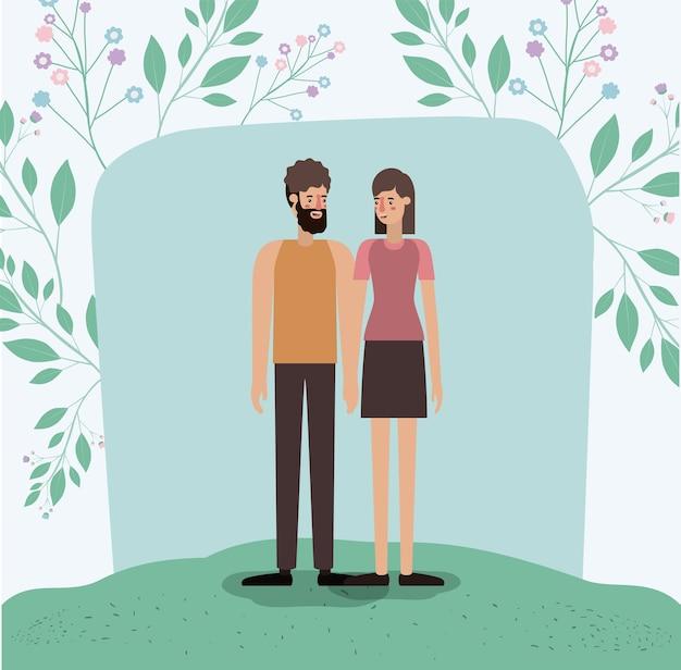 恋人、恋人、草、葉、フレーム