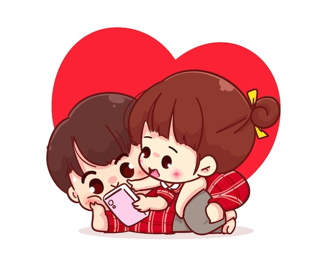 Lovers couple looking at the smartphone together, cartoon character illustration