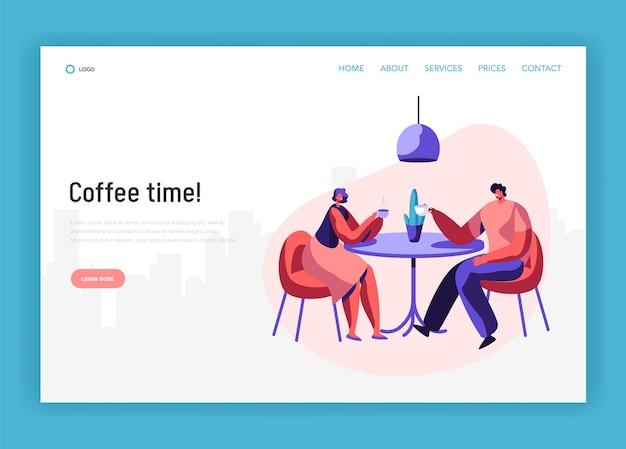 テーブルドリンクコーヒーに座っている恋人のカップルやペアの友達には、ディスカッションのランディングページがあります。カフェのウェブサイトまたはウェブページでの笑顔の男性と女性のフレンドリーな会議。フラット漫画ベクトルイラスト