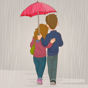 Lovers couple in the rain