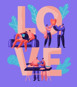 Lovers couple relax at weekend typography banner. man and woman prepare salad for picnic poster. boy and girl launch sky lantern in park. character lying on sofa flat cartoon vector illustration