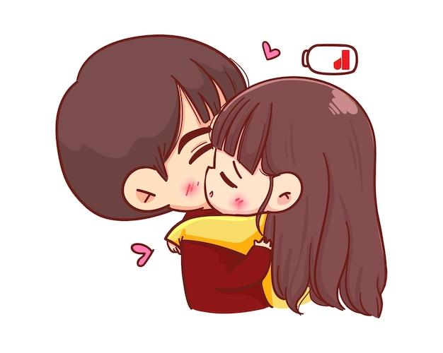 Влюбленные обнимаются. счастливая пара в любви иллюстрации шаржа