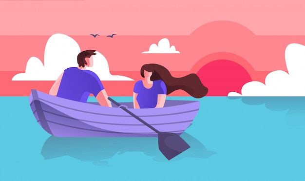 Lovers guy with girl boating on sea cartoon flat.