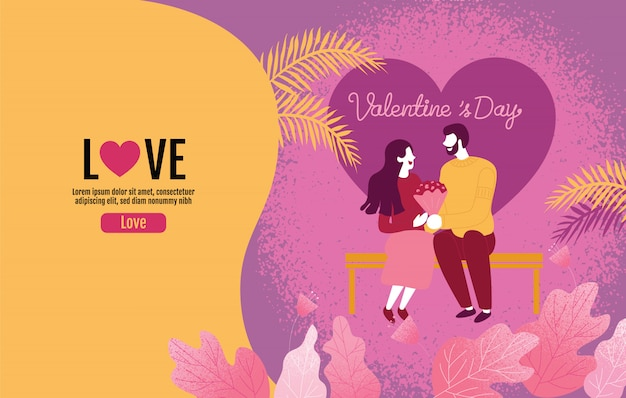 Lovers holding flowers in an atmosphere of love, valentine 's day, love, vector illustration.