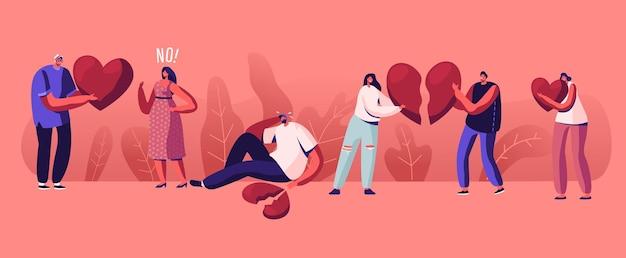 사랑의 관계 개념의 끝에서 연인. 만화 평면 그림