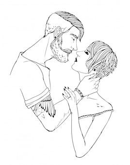 恋人のキス、女の子、スタイリッシュなヘアスタイルの男。愛のカップル。黒と白の手描きイラスト。ファッションの流行に敏感。