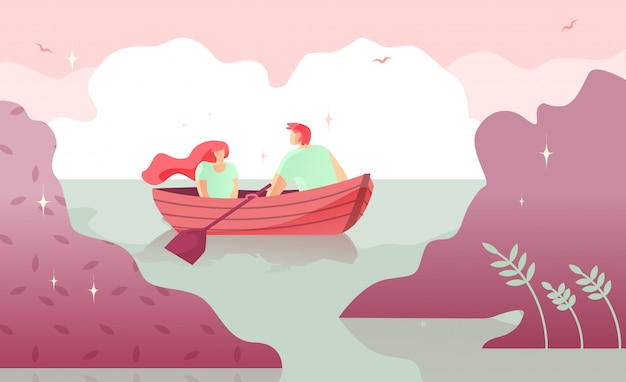 Lovers man and woman boating on river cartoon.