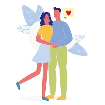 Lovers romantic embrace flat vector illustration