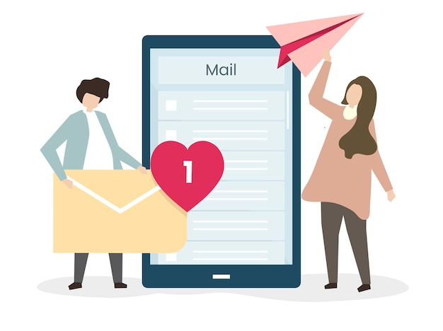 Lovers sending emails to each other