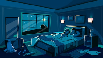 Lovers sleep in bed illustration of bedroom in night with scattered undressed clothes