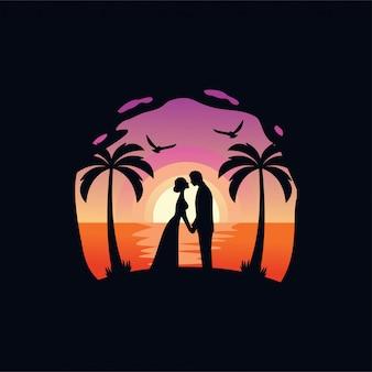 Влюбленные, свадьба силуэт иллюстрации