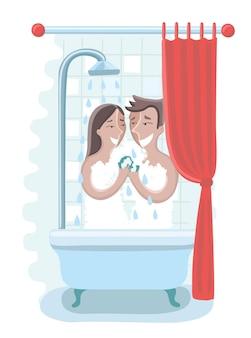 Влюбленная ласковая обнаженная молодая гетеросексуальная пара принимает душ.