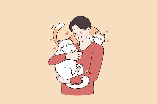 사랑하는 동물과 고양이 애호가 사람 개념