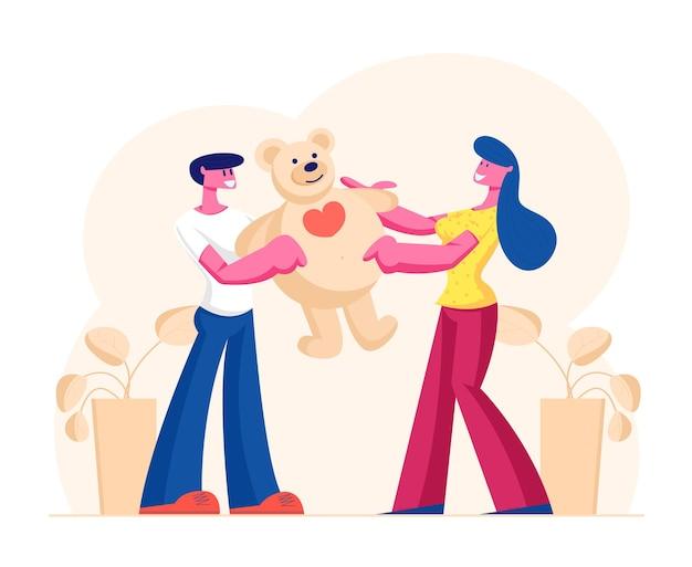 행복한 발렌타인 데이, 생일 또는 휴일에 여자 친구에게 거대한 선물 테디 베어를 선물하는 사랑하는 남자 친구. 만화 평면 그림