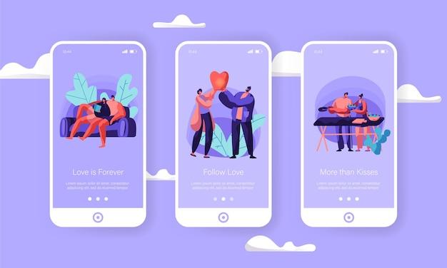 주말 모바일 앱 페이지 온보드 화면 세트에서 사랑하는 부부.