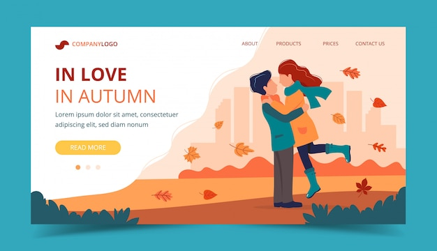 Loving couple in autumn. landing page template.
