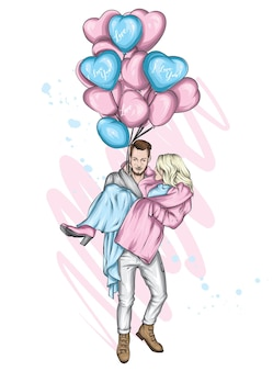 Loving couple and balloons