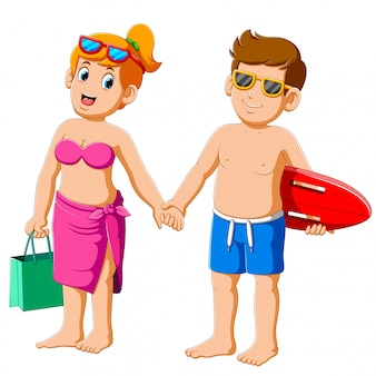 Loving couple in bathing suits in the summer holiday swim and go for sports