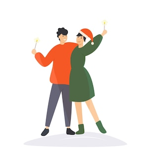 クリスマスと新年を祝う愛情のあるカップル