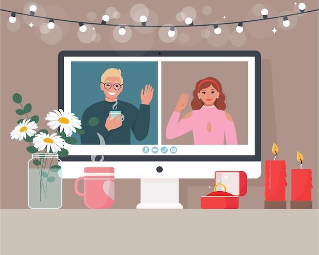 オンラインでバレンタインデーを祝う愛するカップル