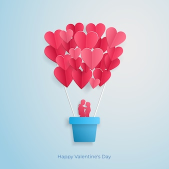 Loving couple flying in a balloon in the form of a heart valentines day greeting card