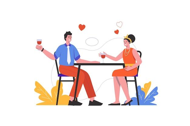 ロマンチックな日にレストランで夕食をとる愛情のあるカップル。テーブルに座ってワインを飲む男性と女性、人々のシーンは孤立しています。関係の概念。フラットミニマルデザインのベクトル図