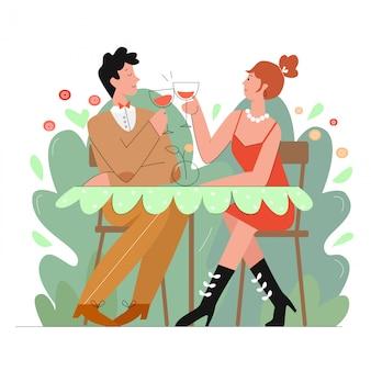 레스토랑 장면 선 캐릭터 그림에서 사랑하는 부부. 프리미엄 벡터