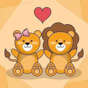 Loving couple lion