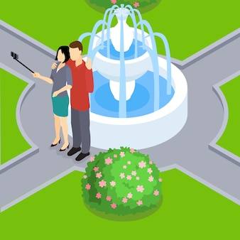 Loving couple making selfie isometric layout