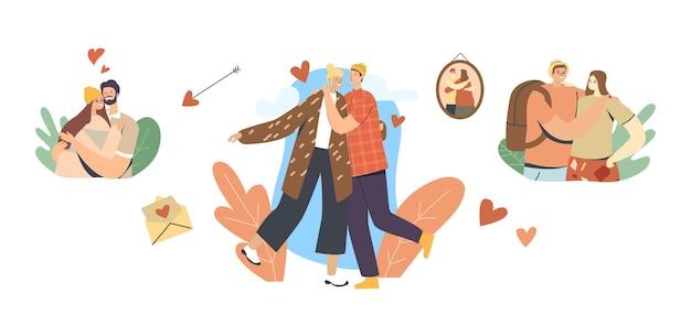 愛するカップルの男性と女性のキャラクターの愛、ロマンチックな関係。男抱擁とキス。女性。ハッピーラバーズデート。接続感情感情ロマンスライフスタイル。漫画の人々のベクトル図