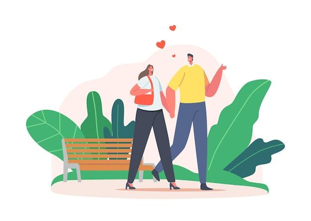 Влюбленные персонажи мужского и женского пола, встречающиеся в городском парке. молодой мужчина и женщина, держась за руки, гуляют по улице со скамейкой и растениями вокруг. любовные отношения мультфильм людей векторные иллюстрации