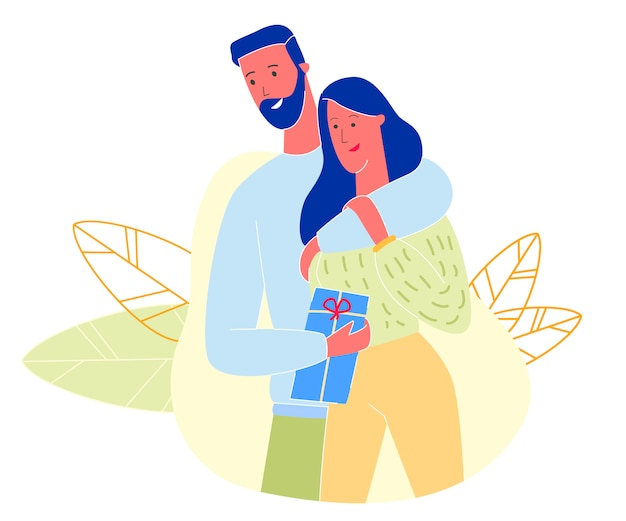 Loving couple, man hugging woman holding gift