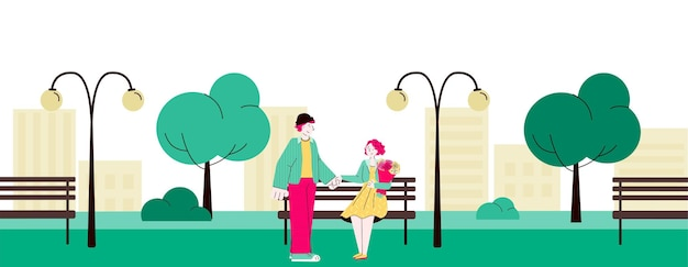 Loving couple meeting and dating in city park flat cartoon vector illustration