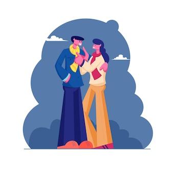 추운 가을 날씨에 거리에 껴안고 따뜻한 옷과 스카프를 착용하는 남성과 여성 캐릭터의 사랑하는 커플. 만화 평면 그림