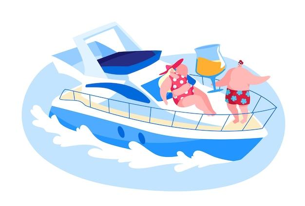 新婚旅行や休暇の海で豪華ヨットでリラックスする愛情のあるカップル