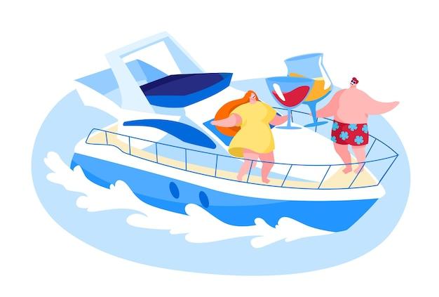 夏の休暇の海で豪華ヨットでリラックスする愛情のあるカップル
