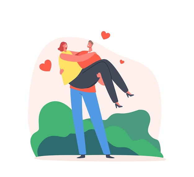 Loving couple romantic relation. man holding woman on hands with hearts fly around. happy lovers valentines day dating