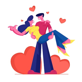 Loving couple romantic relations. man holding woman on hands with red hearts around. cartoon flat illustration