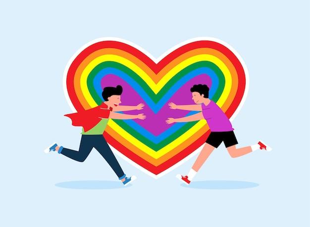 Coppia di innamorati che corrono l'uno verso l'altro gay sullo sfondo del cuore lgbt