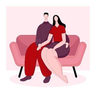 소파에 앉아 사랑하는 부부
