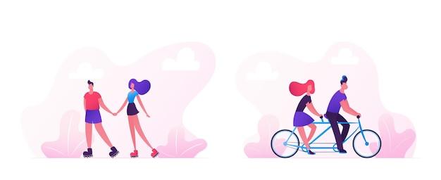 사랑하는 부부는 자전거와 스케이트 롤러를 타고 함께 시간을 보내고