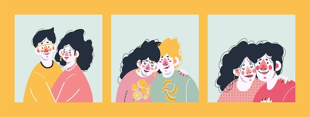 The loving couple together. set of cute prints.