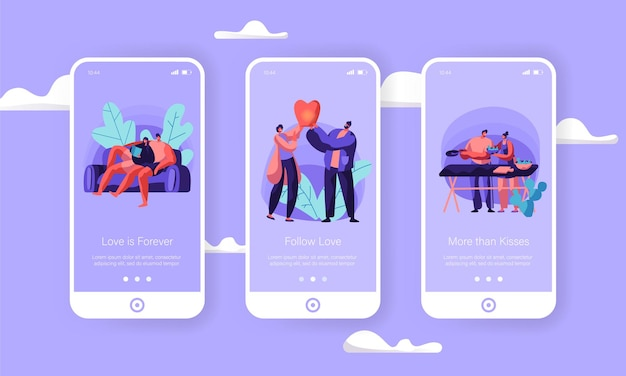 Loving couple at weekend mobile app page onboard screen set.