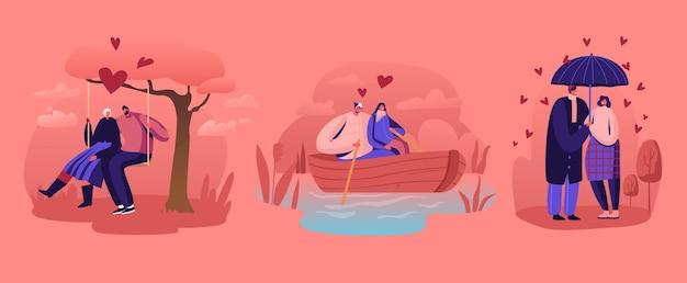 Набор отношений влюбленных пар. мультфильм плоский иллюстрация
