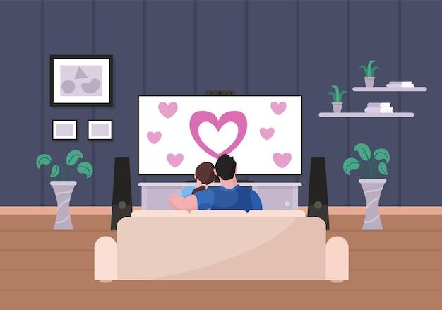愛する家族のカップルが家にいるテレビでロマンチックな映画を見る。リビングルームのソファに座っている夫と妻は、後ろのベクトル図からテレビビューで愛についての映画をお楽しみください